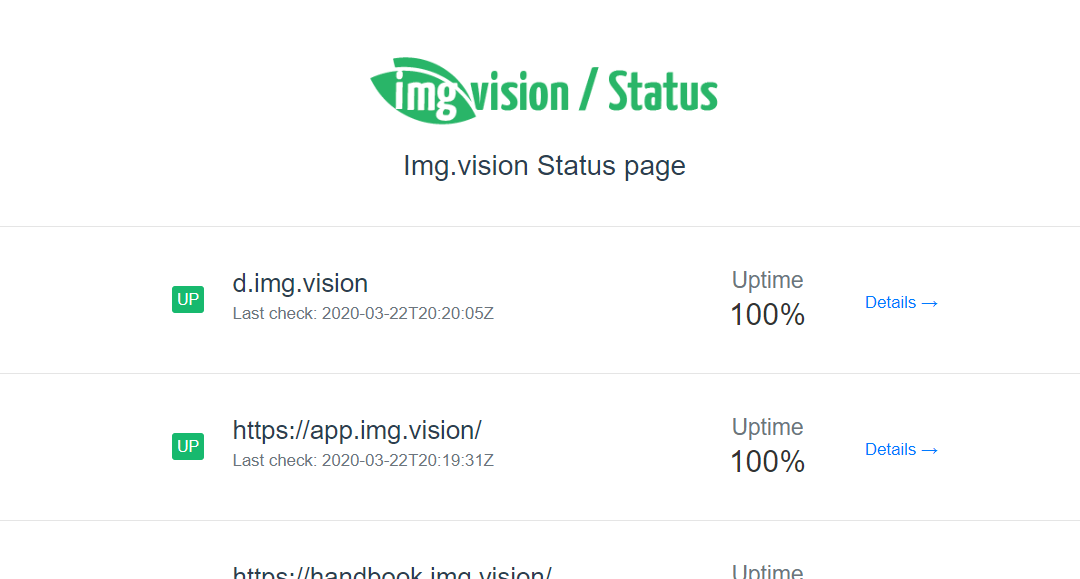 What is the uptime of Img.vision?