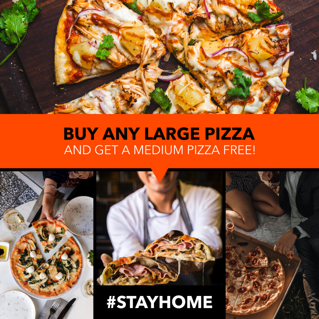 Example ad showing different angles of the product, in this case pizza