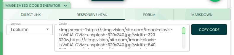 Responsive html code generator of Img.vision