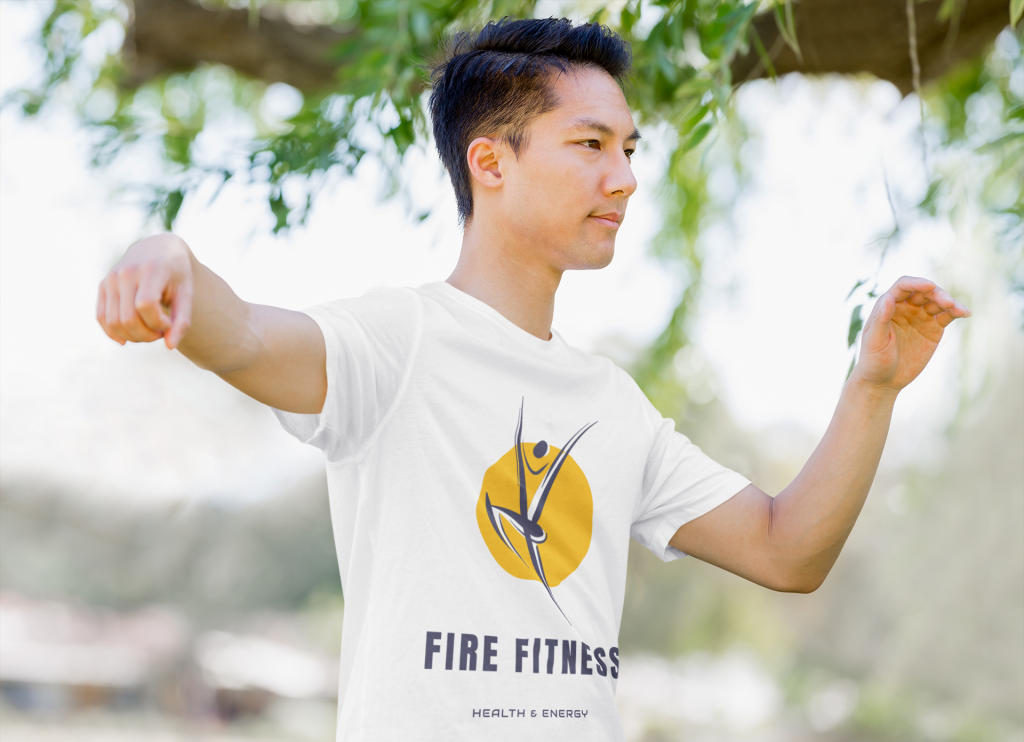 Example photo of fitness coach wearing branded t-shirt