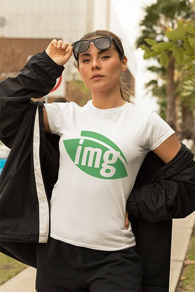 Woman wearing t-shirt with Img.vision logo